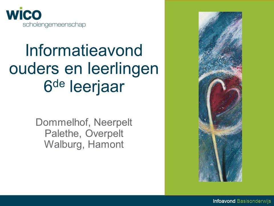 Informatieavond ouders en leerlingen 6 de leerjaar Dommelhof, Neerpelt Palethe, Overpelt Walburg, Hamont Infoavond Basisonderwijs