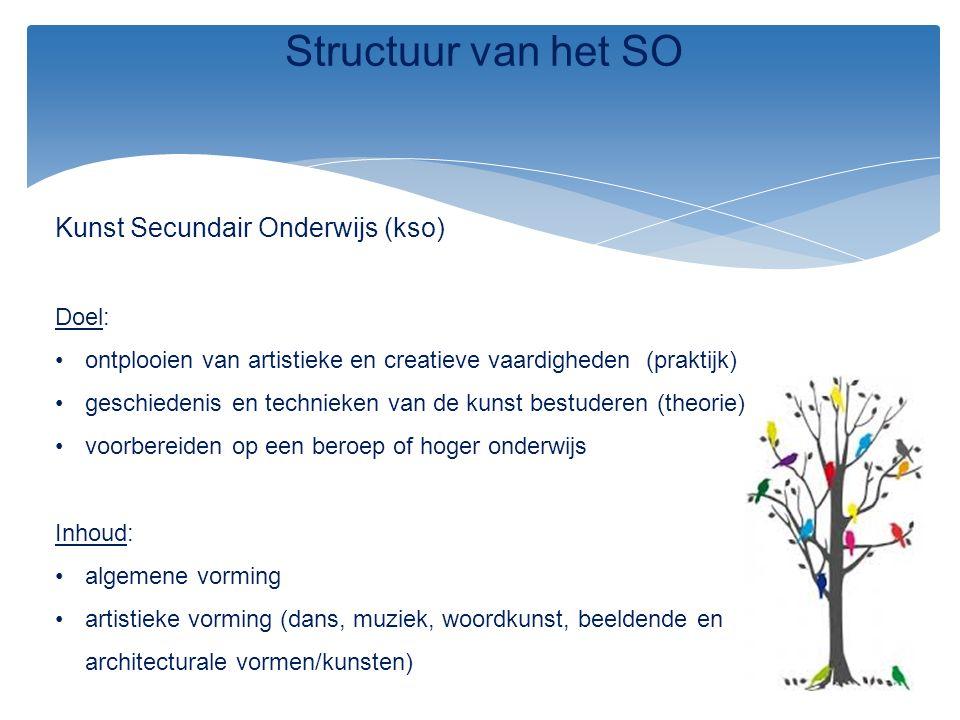 Kunst Secundair Onderwijs (kso) Doel: ontplooien van artistieke en creatieve vaardigheden (praktijk) geschiedenis en technieken van de kunst bestudere