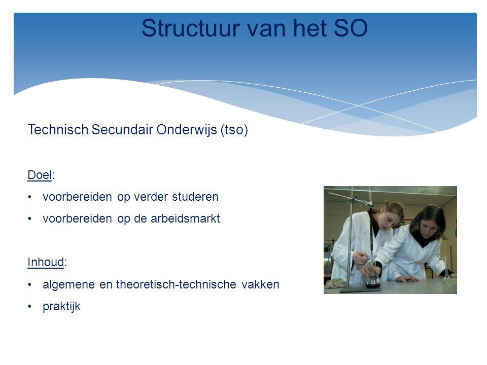 Technisch Secundair Onderwijs (tso) Doel: voorbereiden op verder studeren voorbereiden op de arbeidsmarkt Inhoud: algemene en theoretisch-technische v