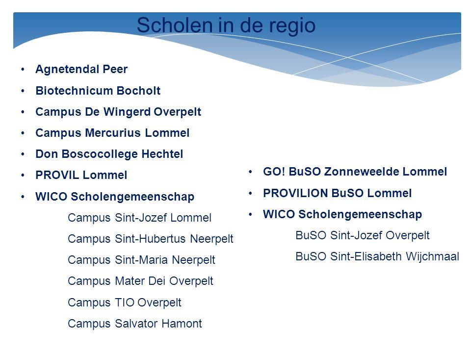 Scholen in de regio Agnetendal Peer Biotechnicum Bocholt Campus De Wingerd Overpelt Campus Mercurius Lommel Don Boscocollege Hechtel PROVIL Lommel WIC