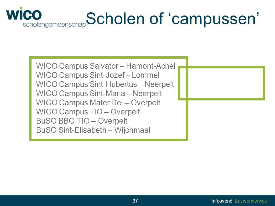 Scholen of 'campussen' WICO Campus Salvator – Hamont-Achel WICO Campus Sint-Jozef – Lommel WICO Campus Sint-Hubertus – Neerpelt WICO Campus Sint-Maria