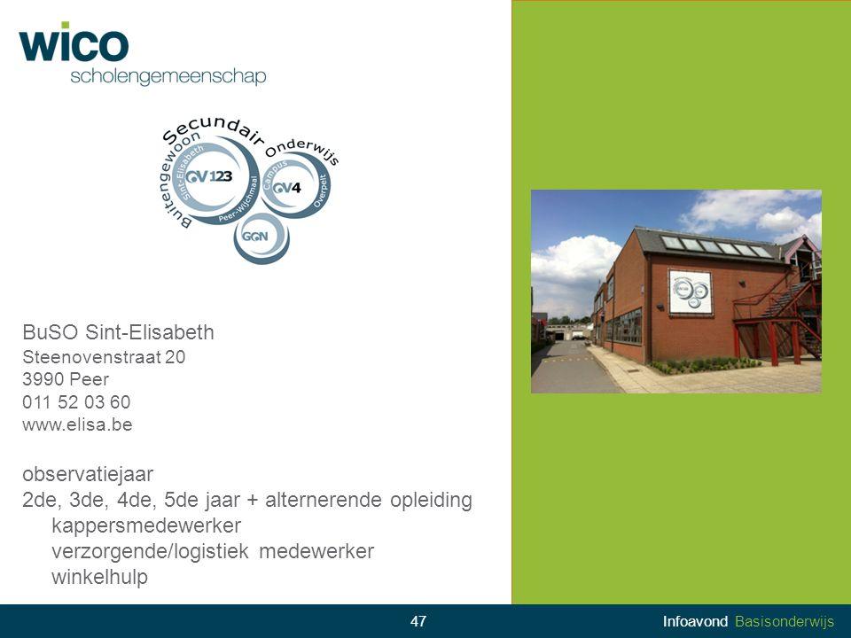 BuSO Sint-Elisabeth Steenovenstraat 20 3990 Peer 011 52 03 60 www.elisa.be observatiejaar 2de, 3de, 4de, 5de jaar + alternerende opleiding kappersmede