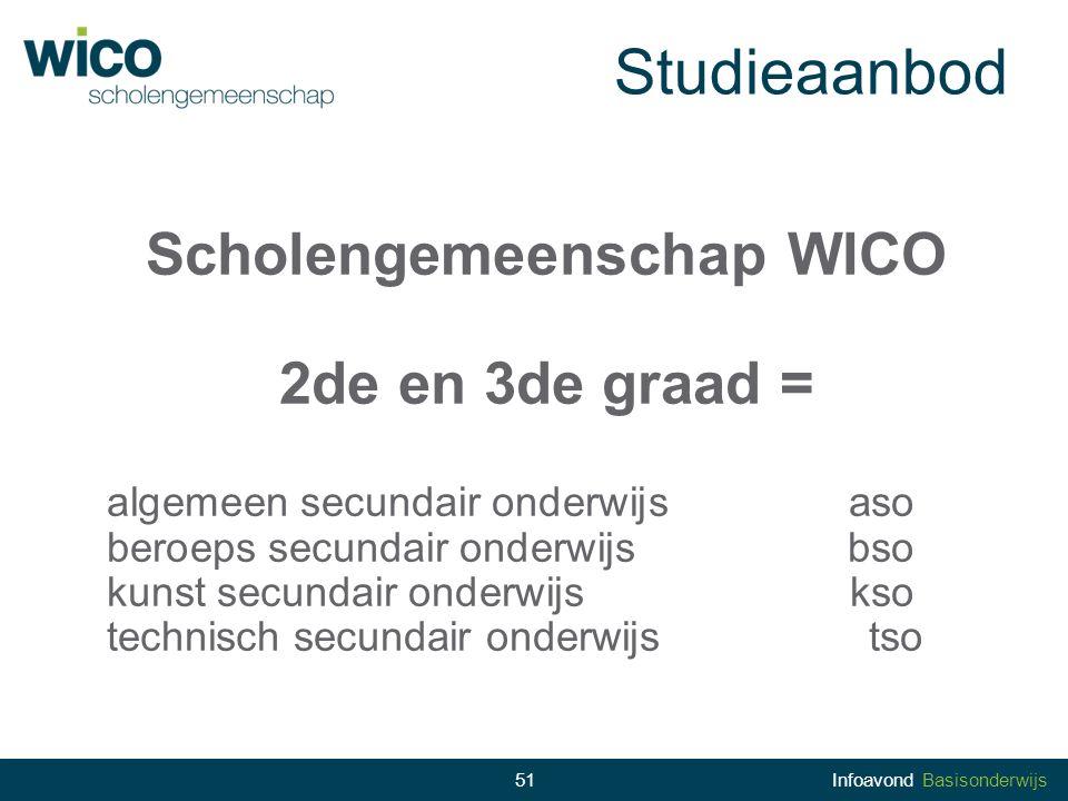 Studieaanbod Scholengemeenschap WICO 2de en 3de graad = algemeen secundair onderwijsaso beroeps secundair onderwijsbso kunst secundair onderwijskso te