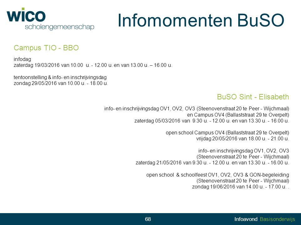 Infomomenten BuSO 68 68Infoavond Basisonderwijs Campus TIO - BBO infodag zaterdag 19/03/2016 van 10.00 u. - 12.00 u. en van 13.00 u. – 16.00 u. tentoo