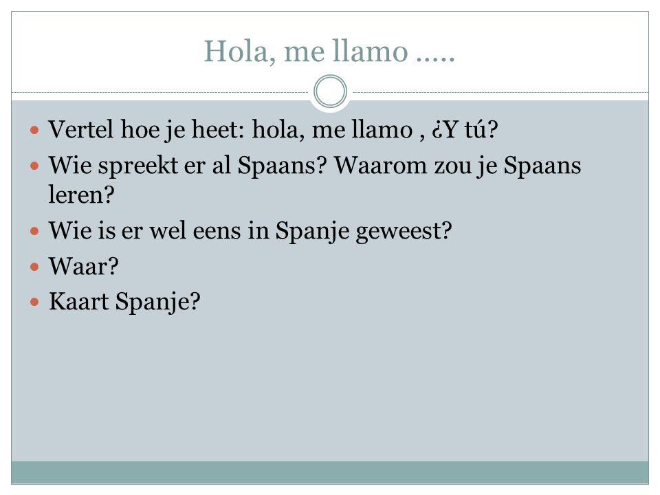 Hola, me llamo ….. Vertel hoe je heet: hola, me llamo, ¿Y tú? Wie spreekt er al Spaans? Waarom zou je Spaans leren? Wie is er wel eens in Spanje gewee