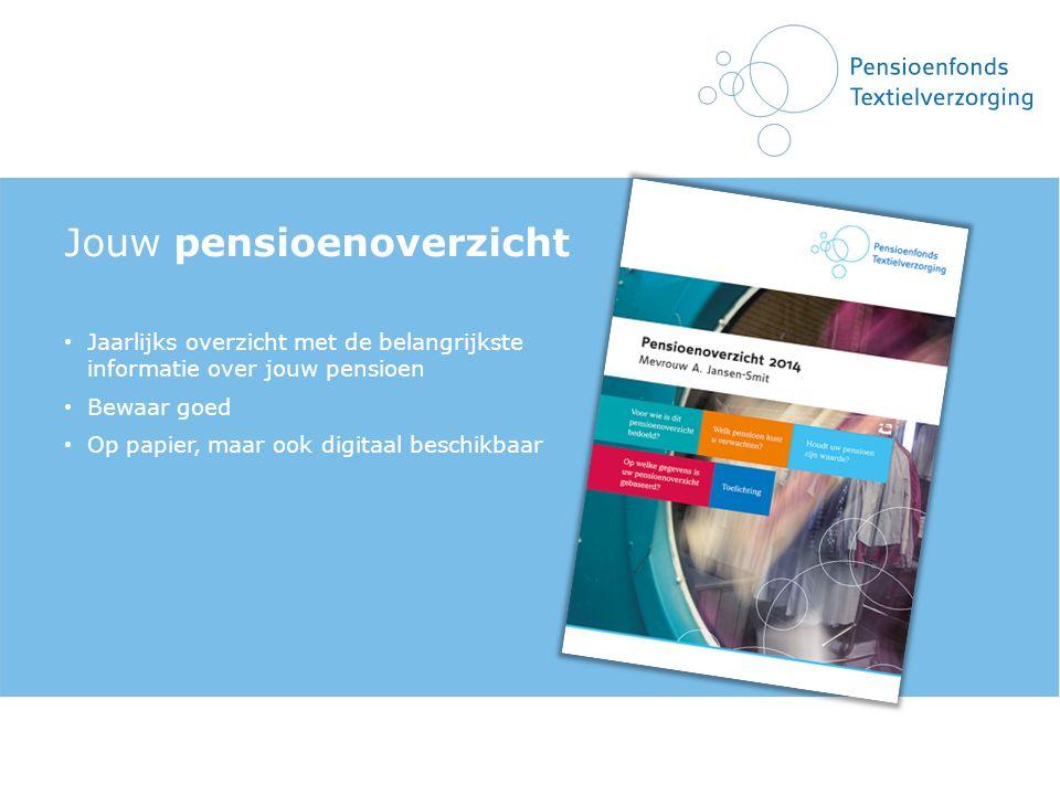Jouw pensioenoverzicht Jaarlijks overzicht met de belangrijkste informatie over jouw pensioen Bewaar goed Op papier, maar ook digitaal beschikbaar