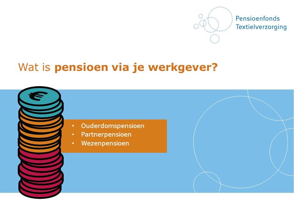 Wat is pensioen via je werkgever? Ouderdomspensioen Partnerpensioen Wezenpensioen