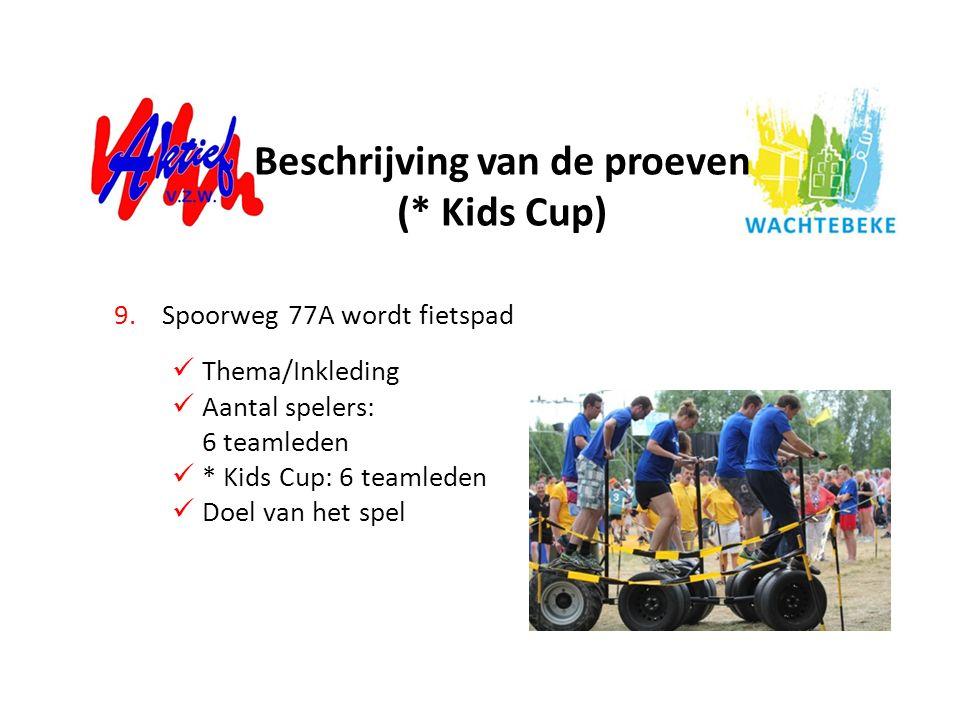 9.Spoorweg 77A wordt fietspad Thema/Inkleding Aantal spelers: 6 teamleden * Kids Cup: 6 teamleden Doel van het spel Beschrijving van de proeven (* Kid