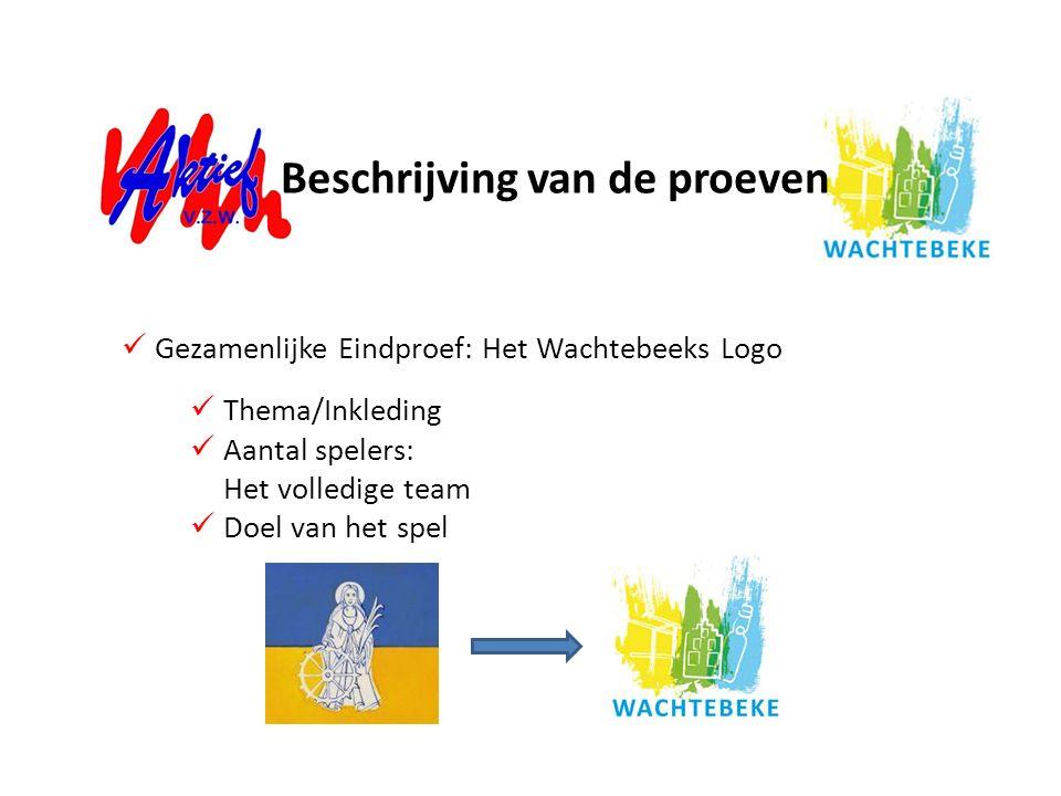 Thema/Inkleding Aantal spelers: Het volledige team Doel van het spel Gezamenlijke Eindproef: Het Wachtebeeks Logo Beschrijving van de proeven