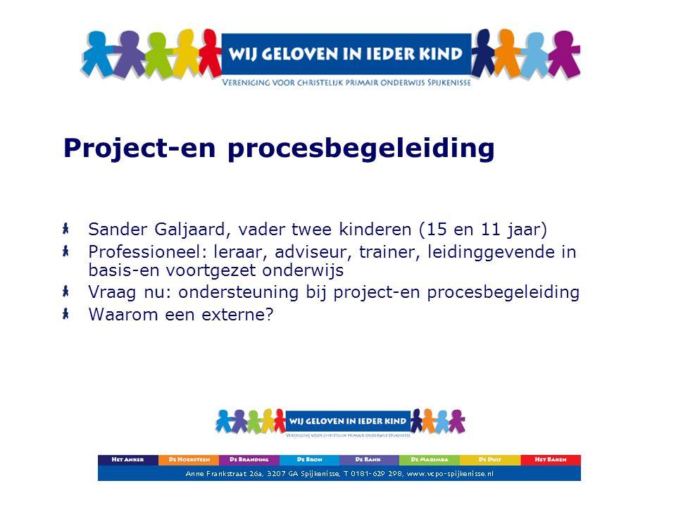 Project-en procesbegeleiding Sander Galjaard, vader twee kinderen (15 en 11 jaar) Professioneel: leraar, adviseur, trainer, leidinggevende in basis-en voortgezet onderwijs Vraag nu: ondersteuning bij project-en procesbegeleiding Waarom een externe