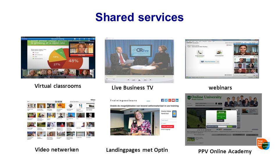 Shared services webinarsLive Business TV Virtual classrooms PPV Online Academy Landingpages met Optin Video netwerken
