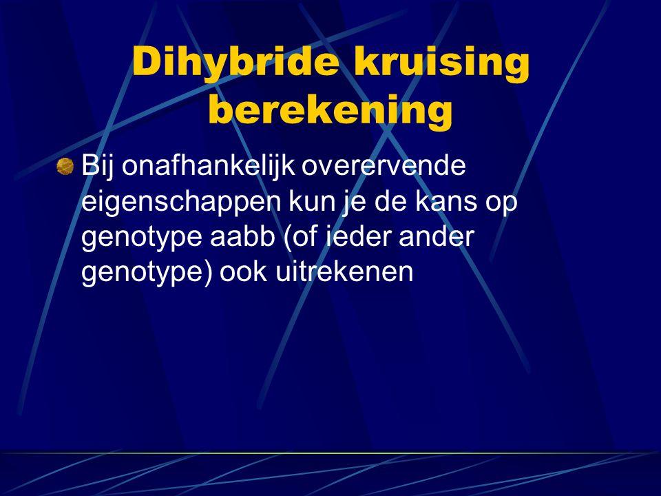 Dihybride kruising berekening Bij onafhankelijk overervende eigenschappen kun je de kans op genotype aabb (of ieder ander genotype) ook uitrekenen