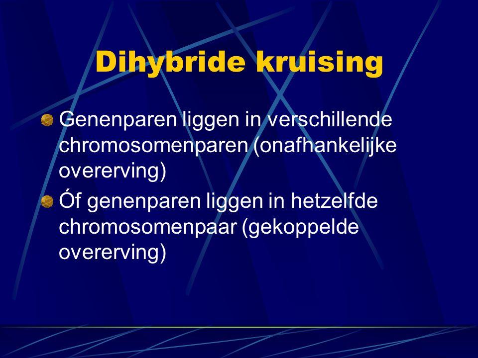 Dihybride kruising Genenparen liggen in verschillende chromosomenparen (onafhankelijke overerving) Óf genenparen liggen in hetzelfde chromosomenpaar (gekoppelde overerving)