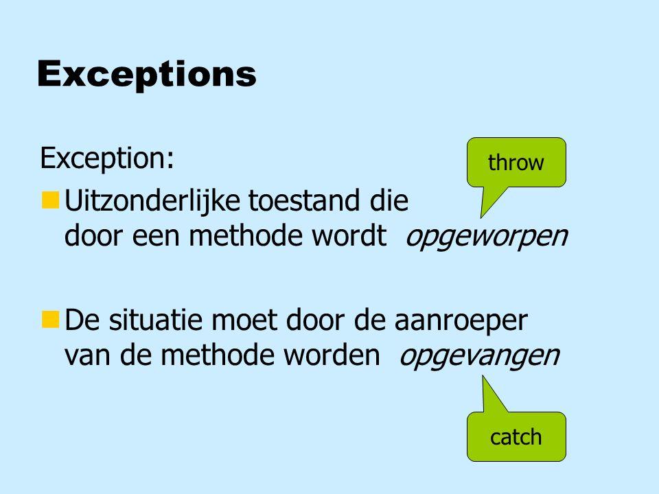 Array van class-objecten tabel Button [ ] tabel; new Button[5]; tabel = 0 1 2 3 4 length5 for (int t=0; t<5; t++) tabel[t] = new Button();