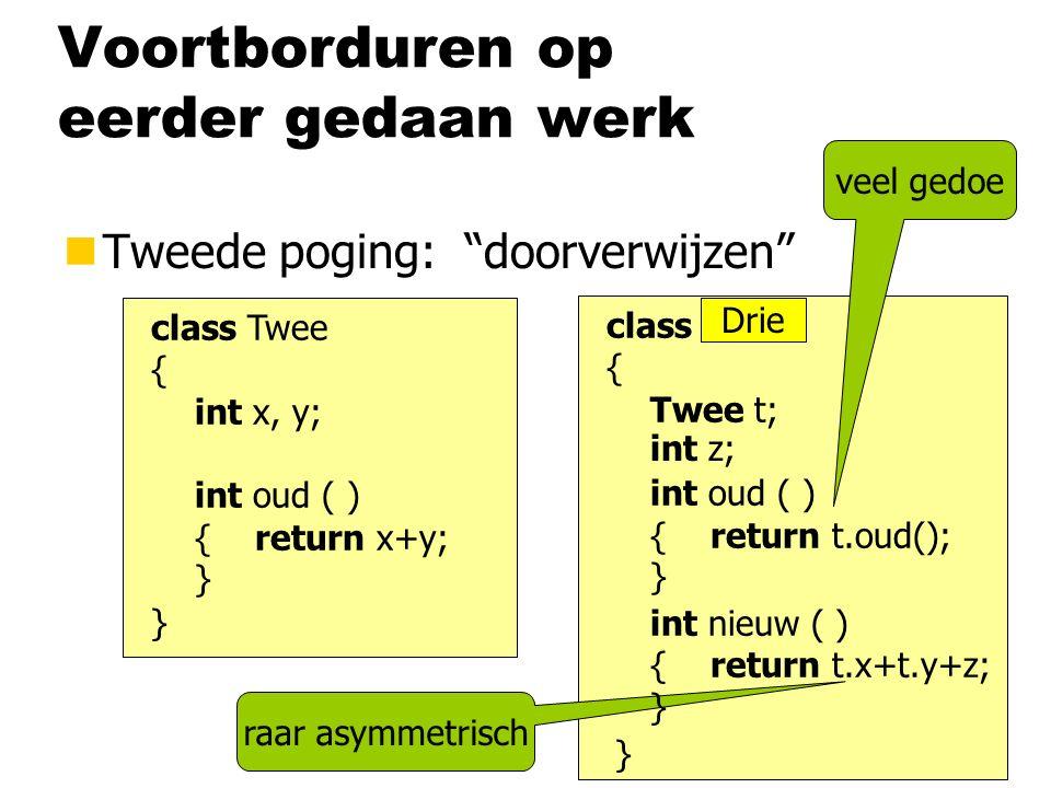 """raar asymmetrisch veel gedoe Voortborduren op eerder gedaan werk nTweede poging: """"doorverwijzen"""" class Twee { int x, y; int oud ( ) { return x+y; } }"""