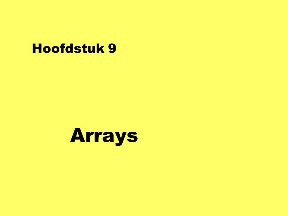 Hoofdstuk 9 Arrays