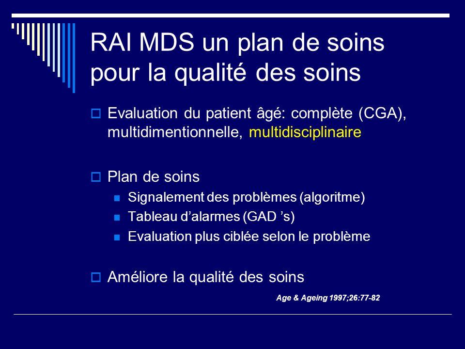 RAI MDS un plan de soins pour la qualité des soins  Evaluation du patient âgé: complète (CGA), multidimentionnelle, multidisciplinaire  Plan de soins Signalement des problèmes (algoritme) Tableau d'alarmes (GAD 's) Evaluation plus ciblée selon le problème  Améliore la qualité des soins Age & Ageing 1997;26:77-82