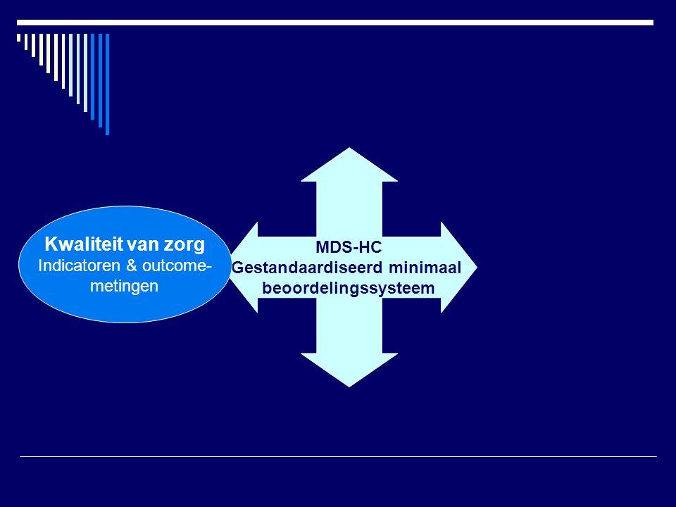 MDS-HC Gestandaardiseerd minimaal beoordelingssysteem Kwaliteit van zorg Indicatoren & outcome- metingen