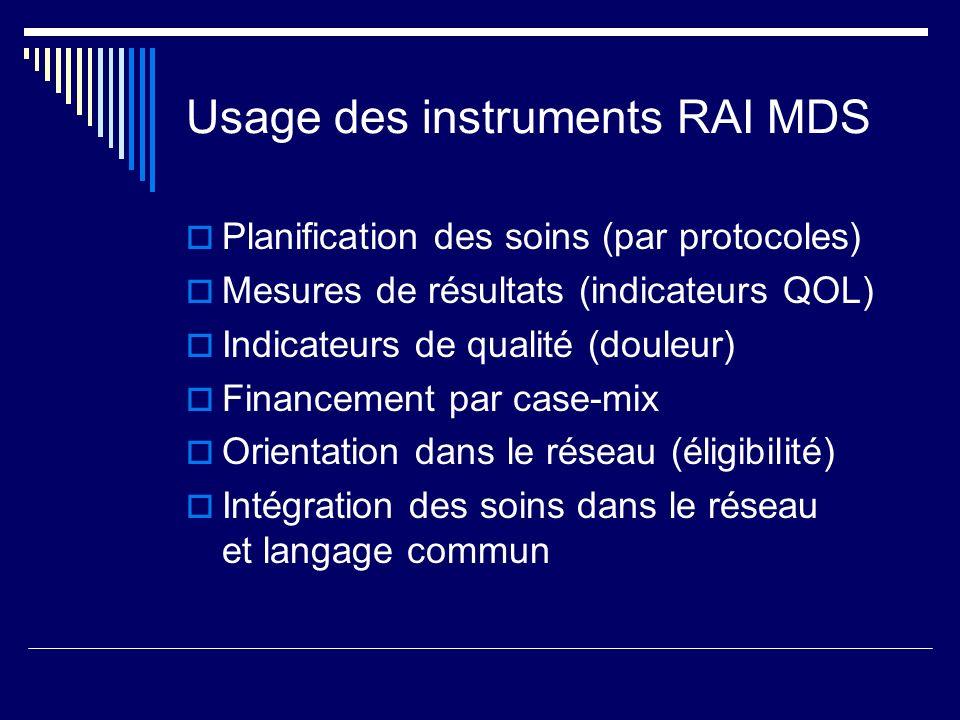 Usage des instruments RAI MDS  Planification des soins (par protocoles)  Mesures de résultats (indicateurs QOL)  Indicateurs de qualité (douleur)  Financement par case-mix  Orientation dans le réseau (éligibilité)  Intégration des soins dans le réseau et langage commun