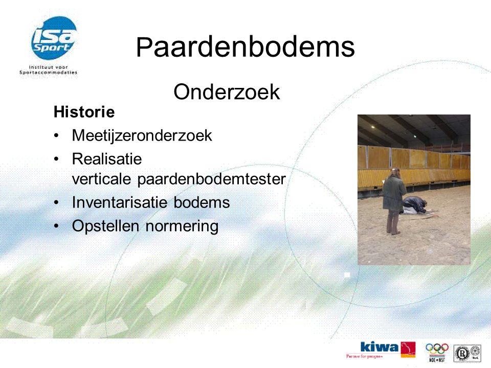 P aardenbodems Historie Meetijzeronderzoek Realisatie verticale paardenbodemtester Inventarisatie bodems Opstellen normering Onderzoek