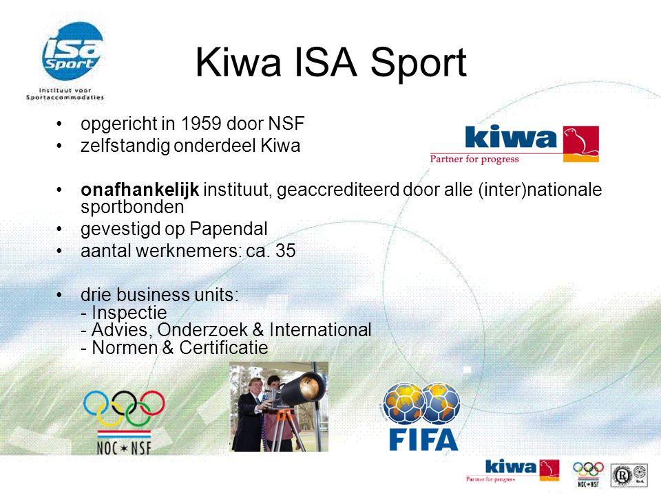 Kiwa ISA Sport opgericht in 1959 door NSF zelfstandig onderdeel Kiwa onafhankelijk instituut, geaccrediteerd door alle (inter)nationale sportbonden gevestigd op Papendal aantal werknemers: ca.