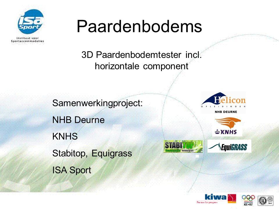 Paardenbodems 3D Paardenbodemtester incl. horizontale component Samenwerkingproject: NHB Deurne KNHS Stabitop, Equigrass ISA Sport