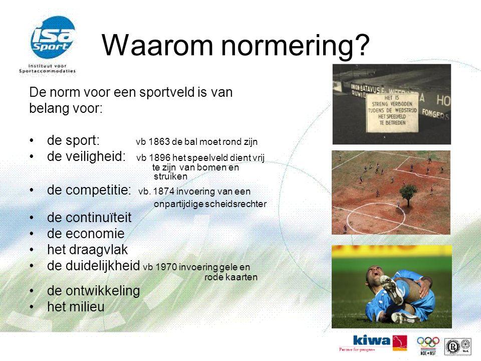 Waarom normering? De norm voor een sportveld is van belang voor: de sport: vb 1863 de bal moet rond zijn de veiligheid: vb 1896 het speelveld dient vr