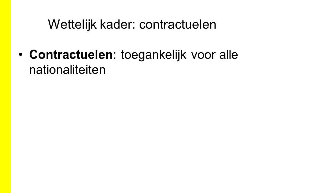 Wettelijk kader: contractuelen Contractuelen: toegankelijk voor alle nationaliteiten