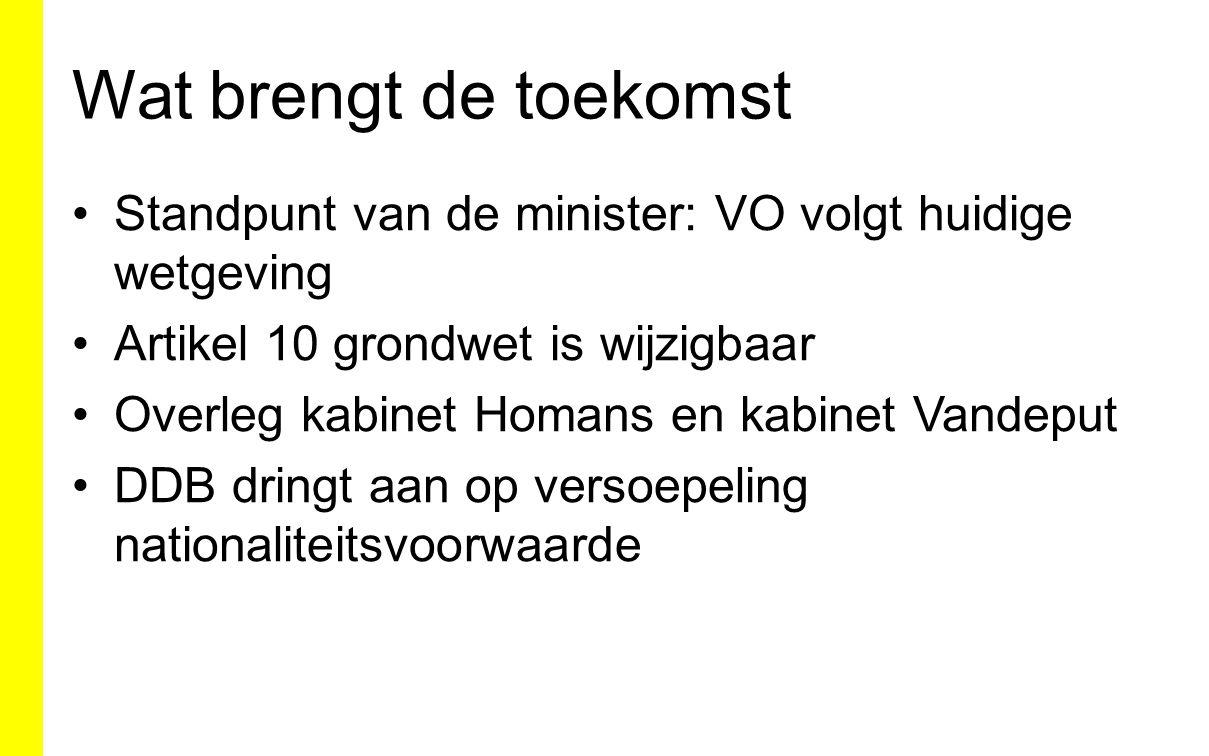 Wat brengt de toekomst Standpunt van de minister: VO volgt huidige wetgeving Artikel 10 grondwet is wijzigbaar Overleg kabinet Homans en kabinet Vandeput DDB dringt aan op versoepeling nationaliteitsvoorwaarde