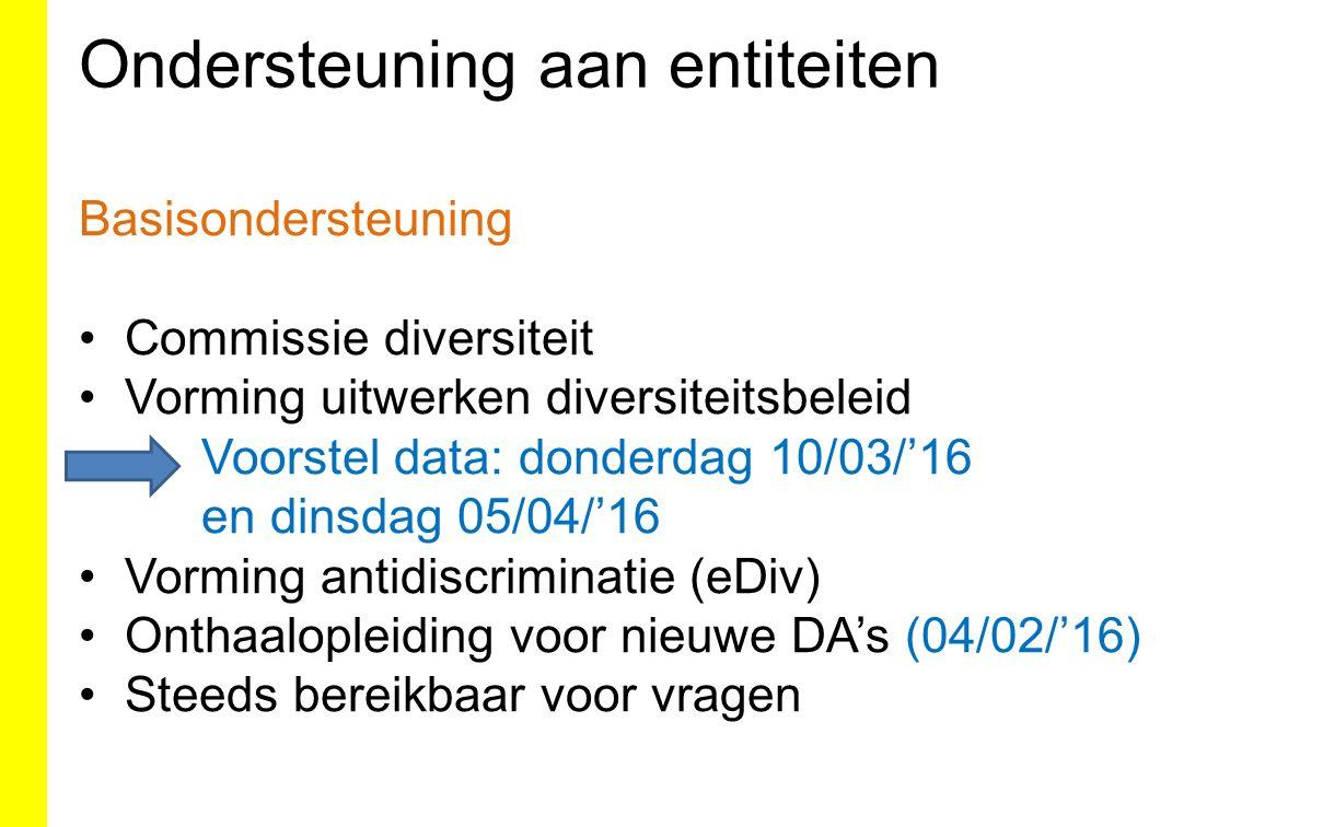 Basisondersteuning Commissie diversiteit Vorming uitwerken diversiteitsbeleid Voorstel data: donderdag 10/03/'16 en dinsdag 05/04/'16 Vorming antidiscriminatie (eDiv) Onthaalopleiding voor nieuwe DA's (04/02/'16) Steeds bereikbaar voor vragen