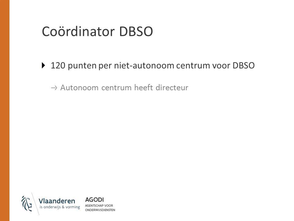 Coördinator DBSO 120 punten per niet-autonoom centrum voor DBSO Autonoom centrum heeft directeur
