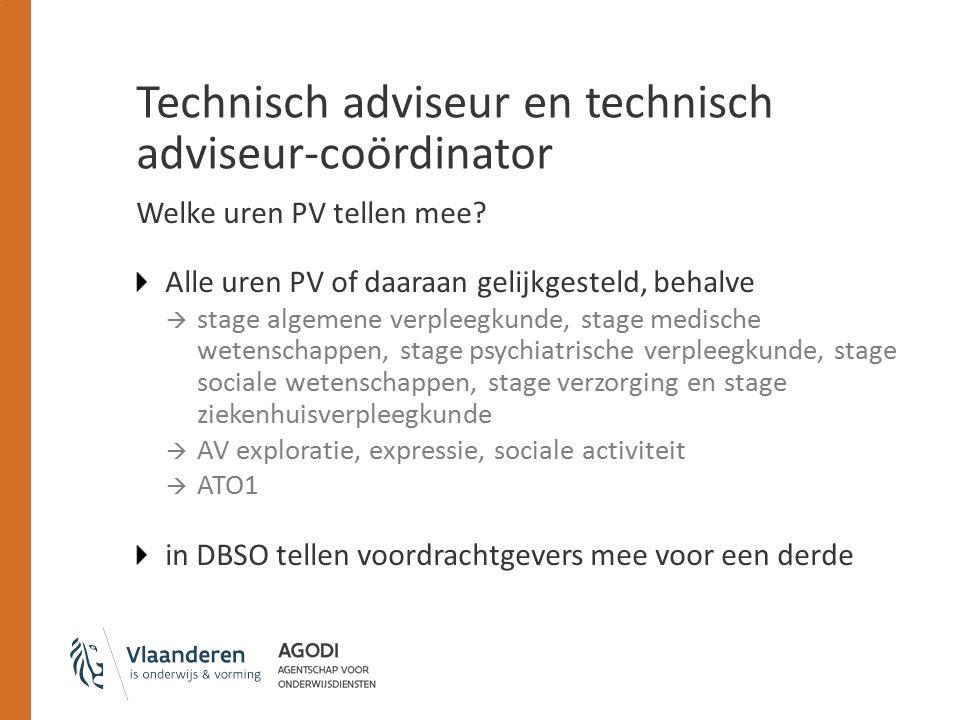 Technisch adviseur en technisch adviseur-coördinator Welke uren PV tellen mee.