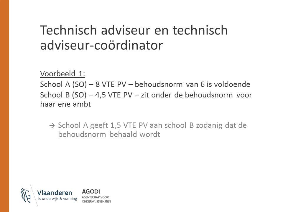 Technisch adviseur en technisch adviseur-coördinator Voorbeeld 1: School A (SO) – 8 VTE PV – behoudsnorm van 6 is voldoende School B (SO) – 4,5 VTE PV – zit onder de behoudsnorm voor haar ene ambt  School A geeft 1,5 VTE PV aan school B zodanig dat de behoudsnorm behaald wordt