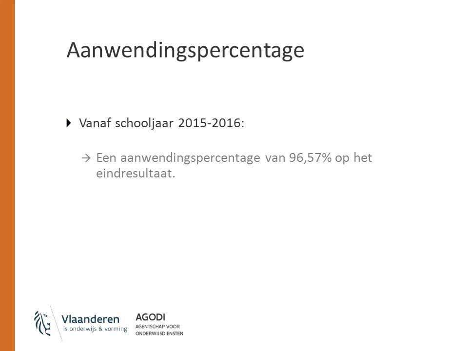 Aanwendingspercentage Vanaf schooljaar 2015-2016:  Een aanwendingspercentage van 96,57% op het eindresultaat.