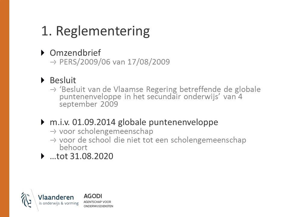 1. Reglementering Omzendbrief PERS/2009/06 van 17/08/2009 Besluit 'Besluit van de Vlaamse Regering betreffende de globale puntenenveloppe in het secun