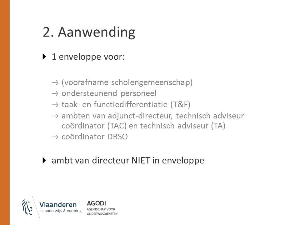 2. Aanwending 1 enveloppe voor: (voorafname scholengemeenschap) ondersteunend personeel taak- en functiedifferentiatie (T&F) ambten van adjunct-direct
