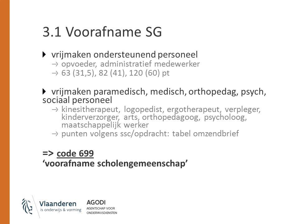 3.1 Voorafname SG vrijmaken ondersteunend personeel opvoeder, administratief medewerker 63 (31,5), 82 (41), 120 (60) pt vrijmaken paramedisch, medisch, orthopedag, psych, sociaal personeel kinesitherapeut, logopedist, ergotherapeut, verpleger, kinderverzorger, arts, orthopedagoog, psycholoog, maatschappelijk werker punten volgens ssc/opdracht: tabel omzendbrief => code 699 'voorafname scholengemeenschap'