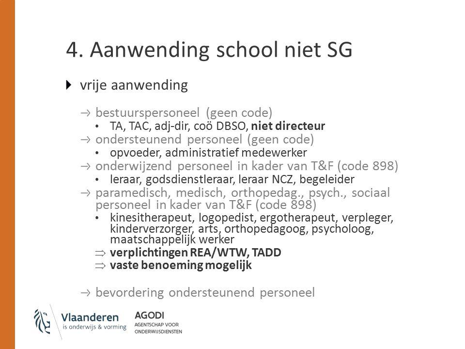 4. Aanwending school niet SG vrije aanwending bestuurspersoneel (geen code) TA, TAC, adj-dir, coö DBSO, niet directeur ondersteunend personeel (geen c