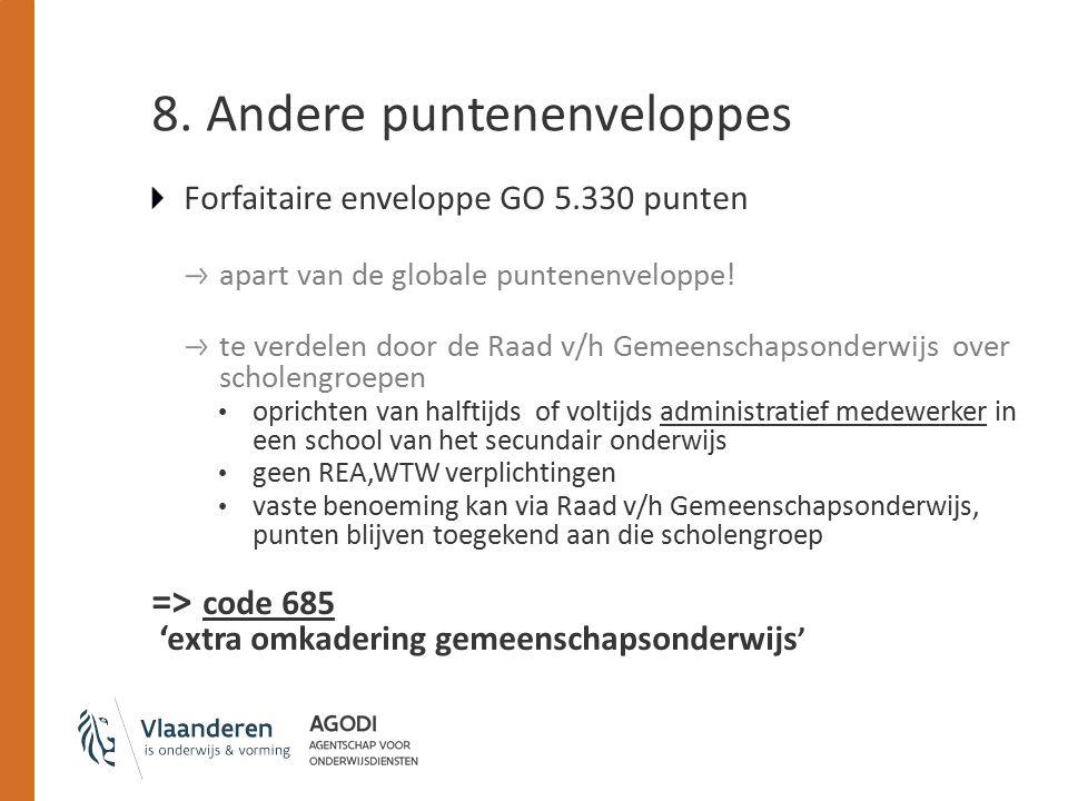 8. Andere puntenenveloppes Forfaitaire enveloppe GO 5.330 punten apart van de globale puntenenveloppe! te verdelen door de Raad v/h Gemeenschapsonderw