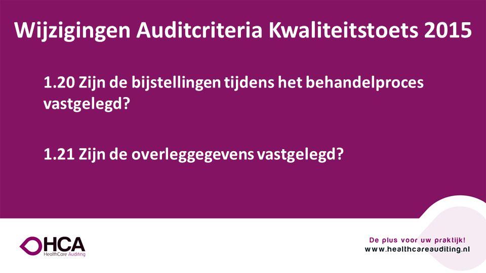 Onderwerp tekst Wijzigingen Auditcriteria Kwaliteitstoets 2015 1.20 Zijn de bijstellingen tijdens het behandelproces vastgelegd? 1.21 Zijn de overlegg