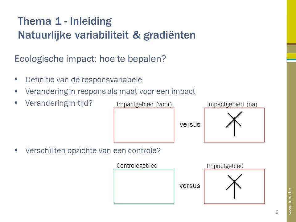 Thema 1 - Inleiding Natuurlijke variabiliteit & gradiënten 2 Ecologische impact: hoe te bepalen.