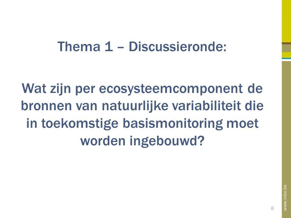 8 Thema 1 – Discussieronde: Wat zijn per ecosysteemcomponent de bronnen van natuurlijke variabiliteit die in toekomstige basismonitoring moet worden ingebouwd