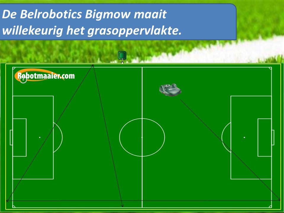 De Belrobotics Bigmow maait willekeurig het grasoppervlakte.