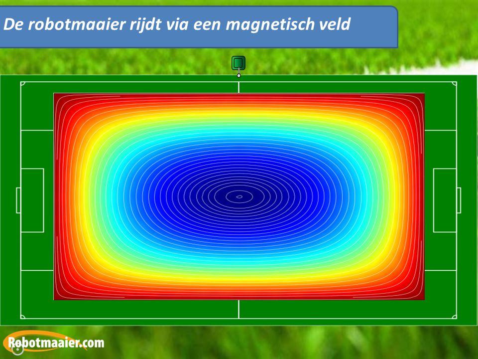 De robotmaaier rijdt via een magnetisch veld