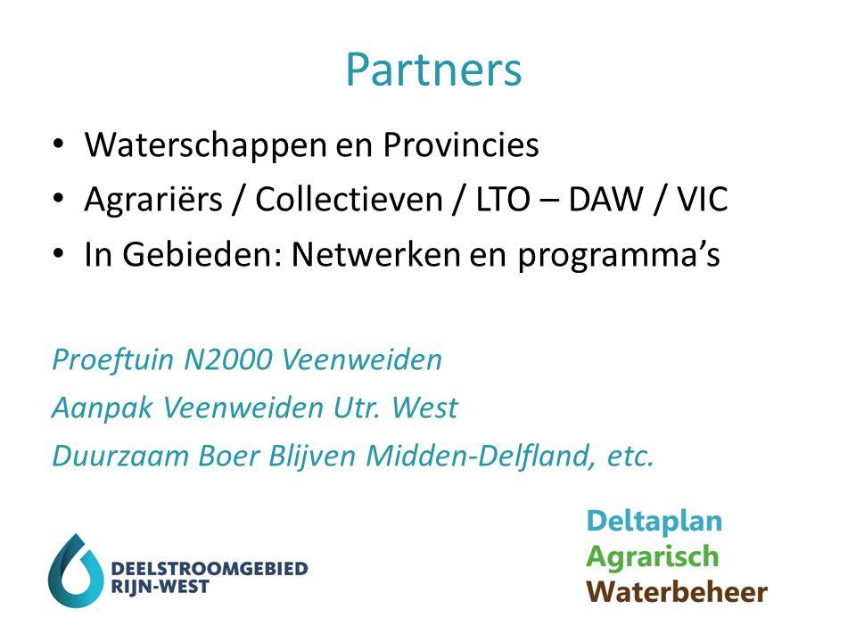 Partners Waterschappen en Provincies Agrariërs / Collectieven / LTO – DAW / VIC In Gebieden: Netwerken en programma's Proeftuin N2000 Veenweiden Aanpak Veenweiden Utr.