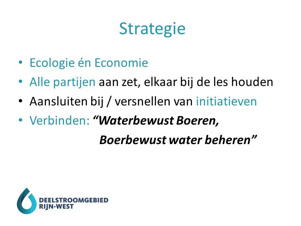 Strategie Ecologie én Economie Alle partijen aan zet, elkaar bij de les houden Aansluiten bij / versnellen van initiatieven Verbinden: Waterbewust Boeren, Boerbewust water beheren