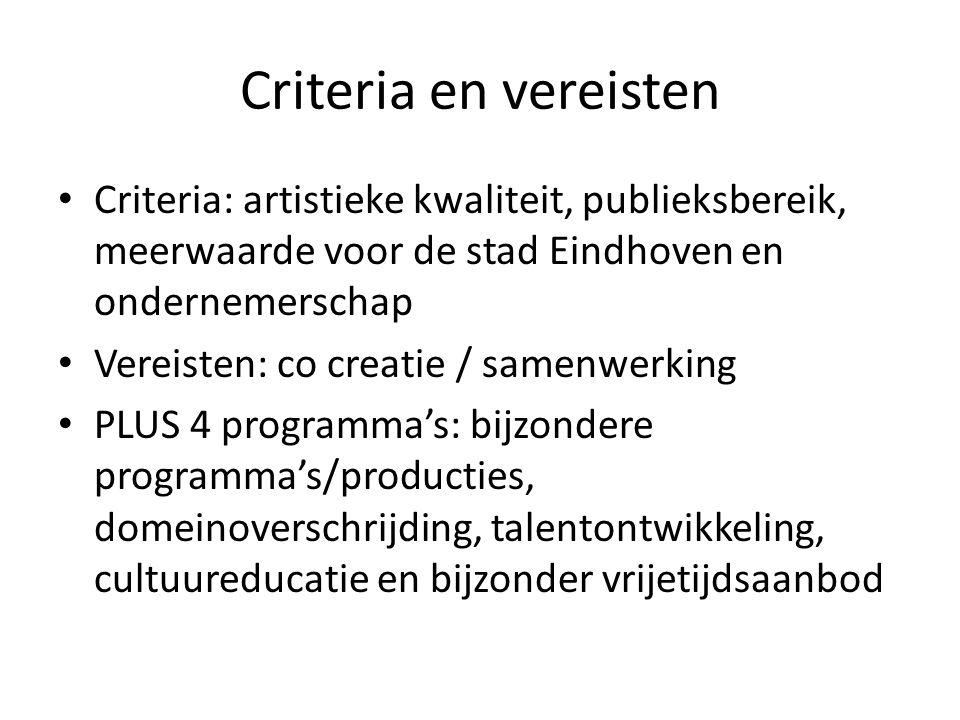 Criteria en vereisten Criteria: artistieke kwaliteit, publieksbereik, meerwaarde voor de stad Eindhoven en ondernemerschap Vereisten: co creatie / samenwerking PLUS 4 programma's: bijzondere programma's/producties, domeinoverschrijding, talentontwikkeling, cultuureducatie en bijzonder vrijetijdsaanbod