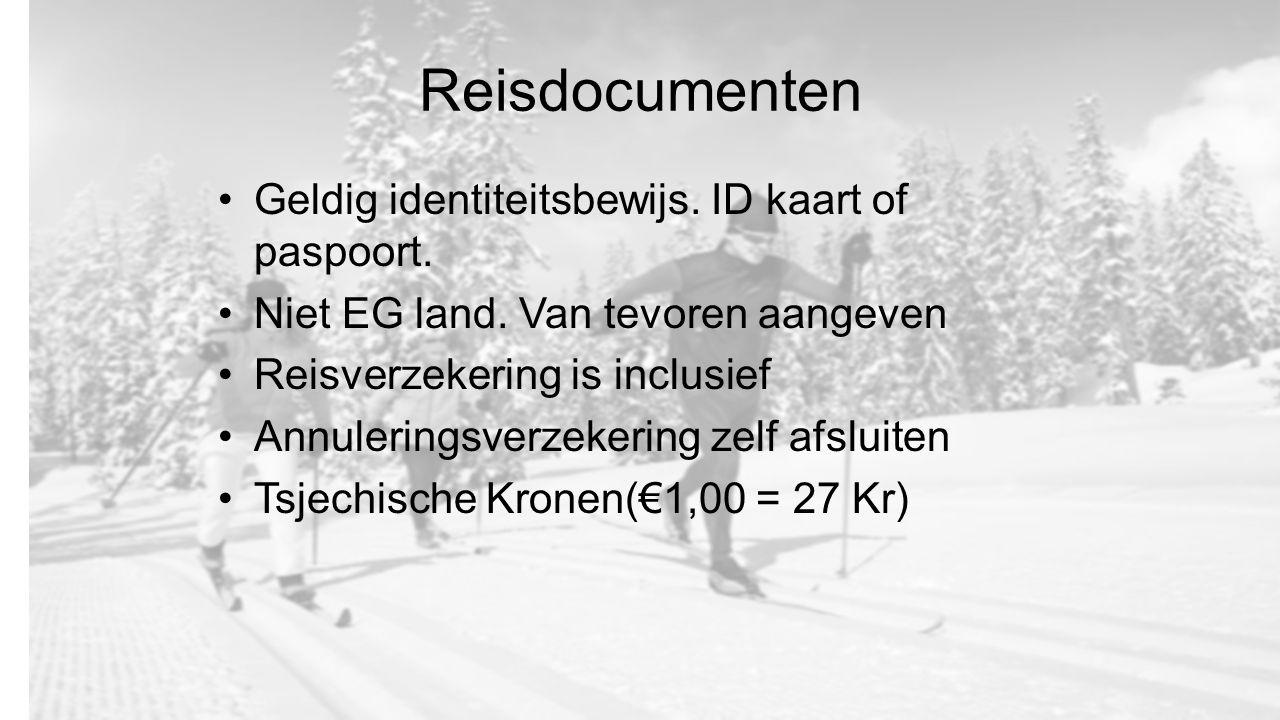 Reisdocumenten Geldig identiteitsbewijs. ID kaart of paspoort. Niet EG land. Van tevoren aangeven Reisverzekering is inclusief Annuleringsverzekering