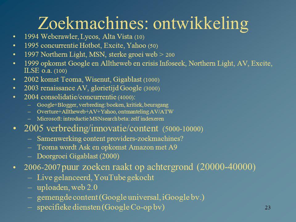 23 Zoekmachines: ontwikkeling 1994 Webcrawler, Lycos, Alta Vista (10) 1995 concurrentie Hotbot, Excite, Yahoo (50) 1997 Northern Light, MSN, sterke gr