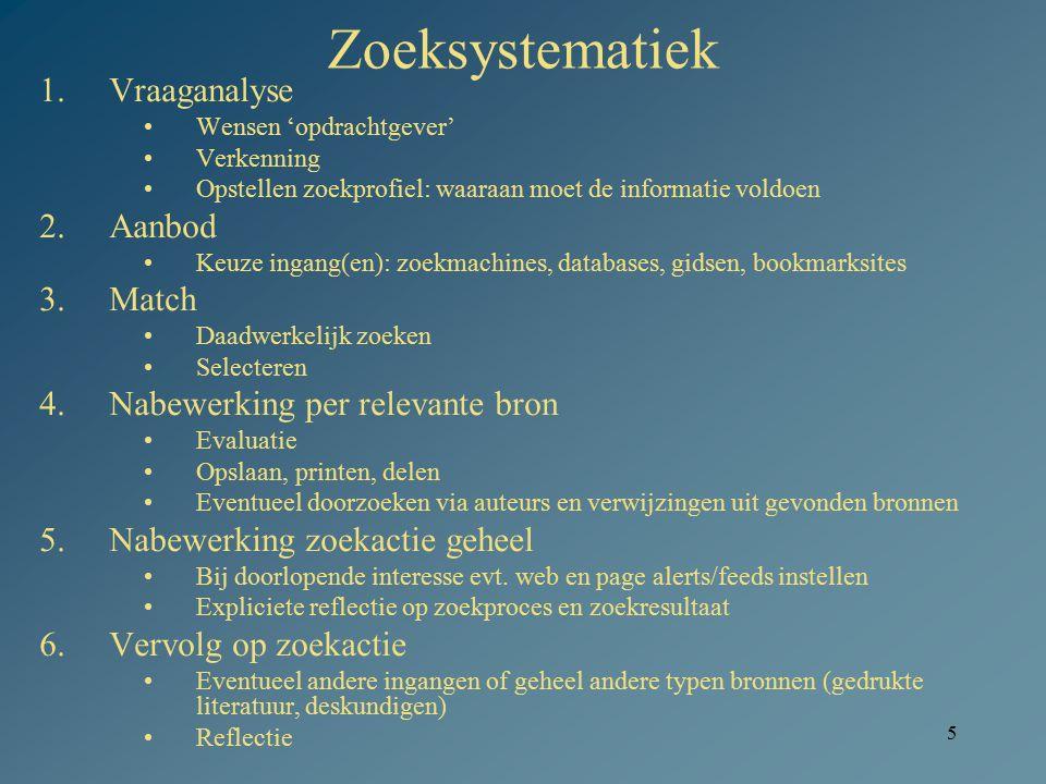 5 Zoeksystematiek 1.Vraaganalyse Wensen 'opdrachtgever' Verkenning Opstellen zoekprofiel: waaraan moet de informatie voldoen 2.Aanbod Keuze ingang(en)